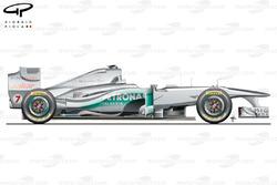 Vue latérale de la Mercedes W02, lancement