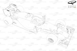 Vue de 3/4 de la Mercedes W05