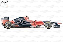 Vue latérale de la Marussia MR02