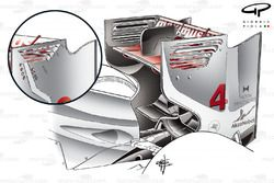 McLaren MP4-27 high downforce rear wing (low downforce inset, shows less louvres being employed)