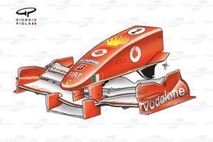 Nez et aileron avant de la Ferrari F2005, à Silverstone