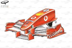 Ferrari F2005 nose and front wing design, British GP