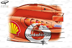 Ouvertures dans les pontons de la Ferrari F2005