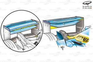 Renault R23 rear wing, wing elements differ in chord length and shape