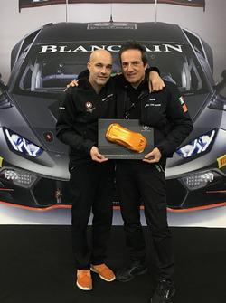 Armando Donazzan, Orange1 Racing president, and Tancredi Pagiaro, Lazarus team owner, celebrate 2016 International GT Open title at Lamborghini World Final in Valencia