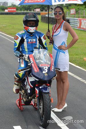Jagan Kumar with grid girl