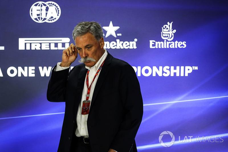 Chase Carey, CEO y jefe ejecutivo de la F1 durante la conferencia de prensa