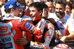 1. Marc Marquez, Repsol Honda Team; 3. Jorge Lorenzo, Ducati Team