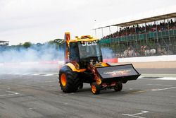A JCB performs a demonstration