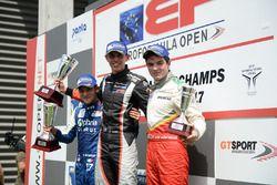 Podium: race winner Harrison Scott, RP Motorsport, second place Devlin DeFrancesco, Carlin Motorsport, third place Thiago Vivacqua, Campos Racing