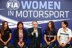 Marta Garcia, Sport Academy Renault Sport F1 Team, Michelle Mouton, Jean Todt, Presidente FIA, Tatiana Calderon, Sauber e Monisha Kaltenborn, Team Principal e CEO, Sauber, alla conferenza stampa donne nel Motorsport