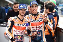 Polesitter Marc Marquez, Repsol Honda Team Marc Marquez, Repsol Honda Team, third place Dani Pedrosa, Repsol Honda Team