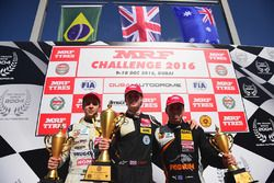 Podium race 3: winner Harrison Newey, second place Felipe Drugovich, third place Joey Mawson