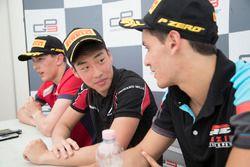 Race winner Nirei Fukuzumi, ART Grand Prix, second place Leonardo Pulcini, Arden International, third place Alessio Lorandi, Jenzer Motorsport at the post race press conference