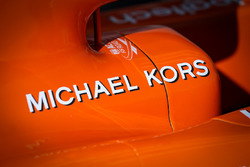 McLaren MCL32 bodywork detail, Michael Kors logo