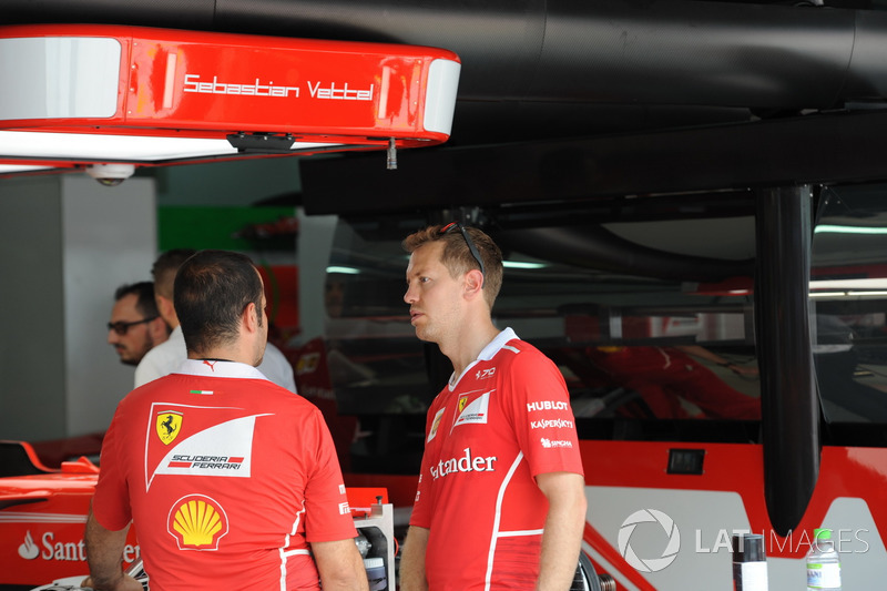 Sebastian Vettel, Ferrari in the garage