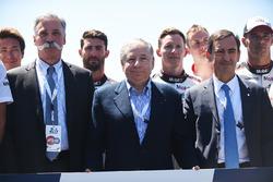 Chase Carey, directeur exécutif du Formula One Group, Jean Todt, président de la FIA, Pierre Fillon, président de l'ACO