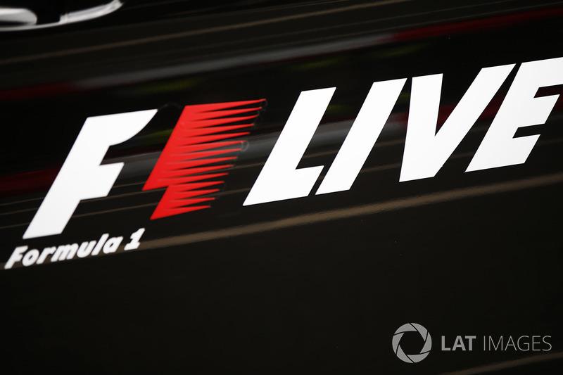 An F1 Live logo, at the London Formula 1 street demonstration parade