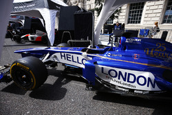"The Sauber Formula 1 team display a message of ""Hello London"" on the side of its car"