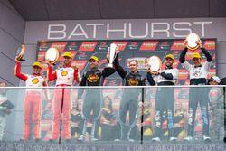 Podium: race winners David Reynolds, Luke Youlden, Erebus Motorsport Holden, second place Scott Pye, Walkinshaw Racing, Warren Luff, Walkinshaw Racing, third place Tony D'Alberto, Team Penske Ford, Fabian Coulthard, Team Penske Ford