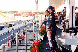 Takuma Sato interviews Third place Daniel Ricciardo, Red Bull Racing, Race winner Lewis Hamilton, Me
