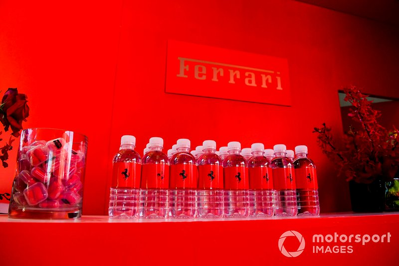 Ferrari water bottles in Ferrari hospitality