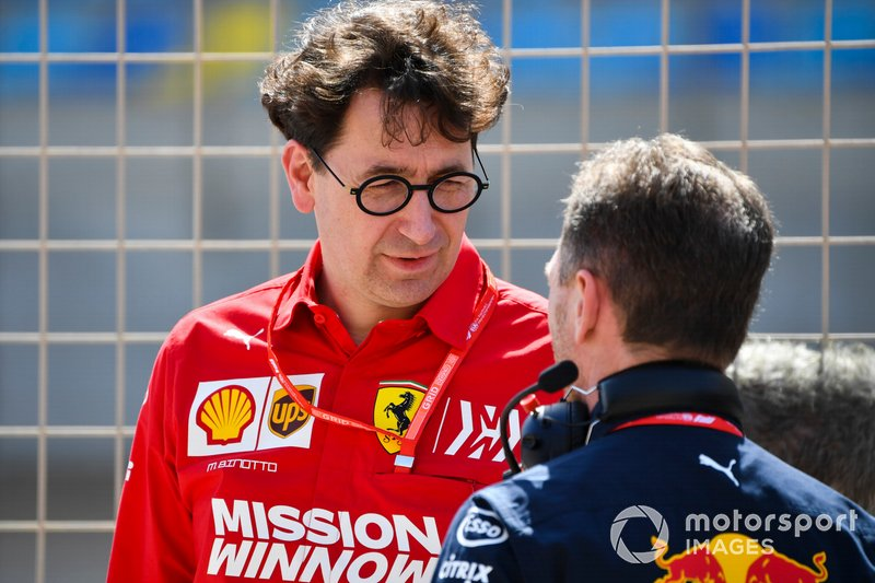 Mattia Binotto, Team Principal Ferrari, with Christian Horner, Team Principal, Red Bull Racing