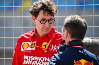 Mattia Binotto, Team Principal Ferrari, with Christian Horner, Team Principal, Red Bull Racing