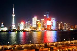 A view of the Shanghai skyline and the Bund