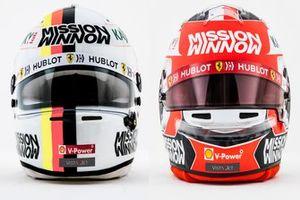 Cascos Sebastian Vettel, Charles Leclerc, Ferrari
