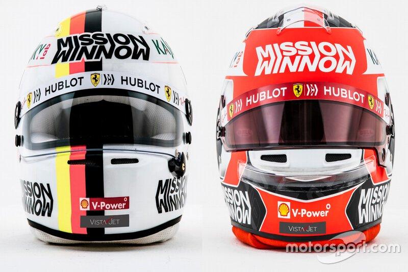 Helmets Sebastian Vettel, Charles Leclerc, Ferrari