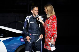 Safety car driver Bruno Correa and TV Presenter Nicki Shields launching the new Qualcomm BMW i8 Safety car 2019 livery