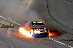 Sheldon Creed, GMS Racing, Chevrolet Silverado United Rentals/A.M.Ortega crash