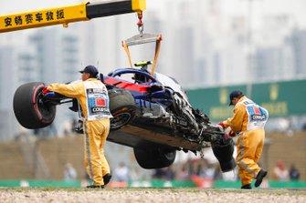 Aftermath of Alexander Albon, Toro Rosso STR14 crash