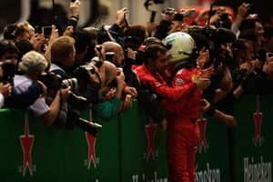 Sebastian Vettel, Ferrari, 3rd position, celebrates with his team