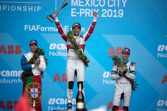 Race winner Lucas Di Grassi, Audi Sport ABT Schaeffler celebrates on the podium with Antonio Felix da Costa, BMW I Andretti Motorsports, 2nd position, Edoardo Mortara, Venturi Formula E, 3rd position,