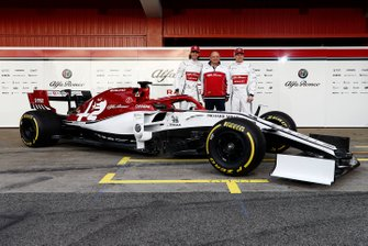 Antonio Giovinazzi, Alfa Romeo Racing, Frederic Vasseur, Alfa Romeo Racing, Team Principal and Kimi Raikkonen, Alfa Romeo Racing with the new Alfa Romeo Racing C38