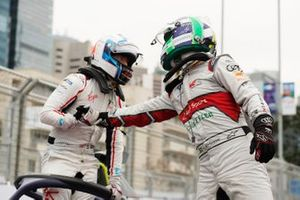 Lucas Di Grassi, Audi Sport ABT Schaeffler, 3rd position, congratulates race winner Sam Bird, Envision Virgin Racing in parc ferme