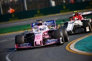 Sergio Perez, Racing Point RP19, leads Antonio Giovinazzi, Alfa Romeo Racing C38
