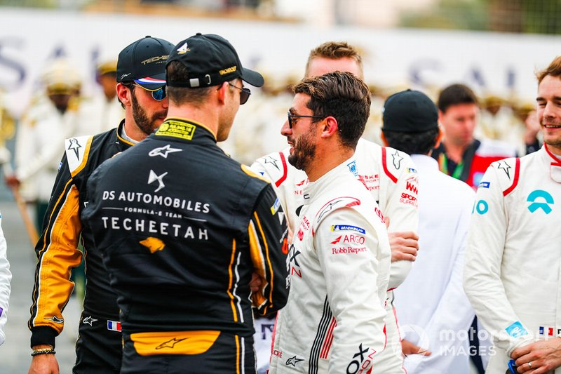 Jean-Eric Vergne, DS TECHEETAH, Andre Lotterer, DS TECHEETAH, Jose Maria Lopez, GEOX Dragon Racing on the grid
