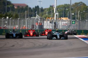 Valtteri Bottas, Mercedes AMG F1 W09, leads Lewis Hamilton, Mercedes AMG F1 W09, Sebastian Vettel, Ferrari SF71H, and Kimi Raikkonen, Ferrari SF71H