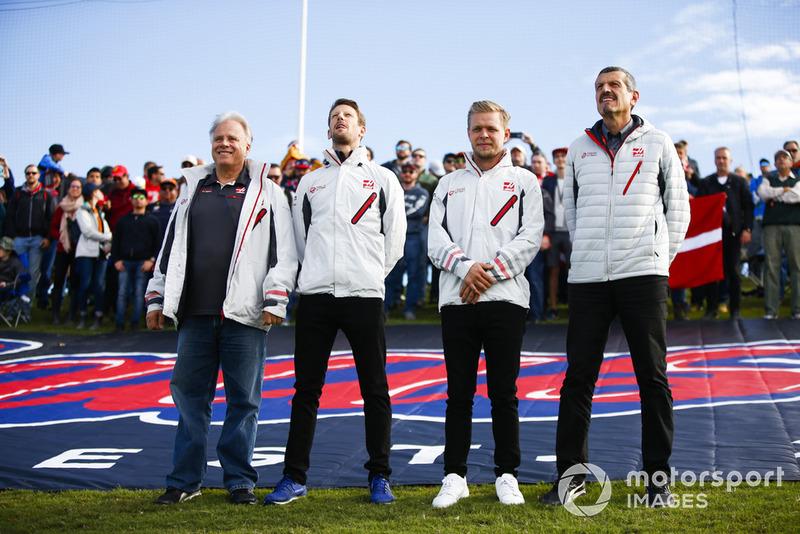 Gene Haas, Pemilik, Haas F1, Romain Grosjean, Haas F1 Team, Kevin Magnussen, Haas F1 Team, Guenther Steiner, Team Principal, Haas F1