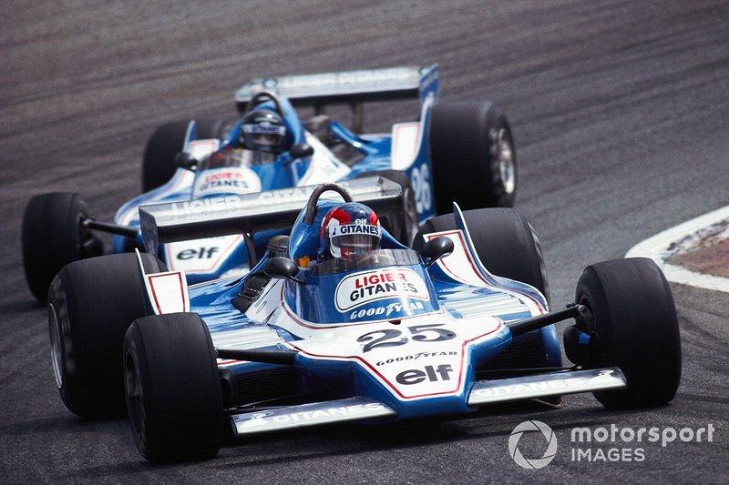Patrick Depailler, Ligier JS11 Ford, leads teammate Jacques Laffite