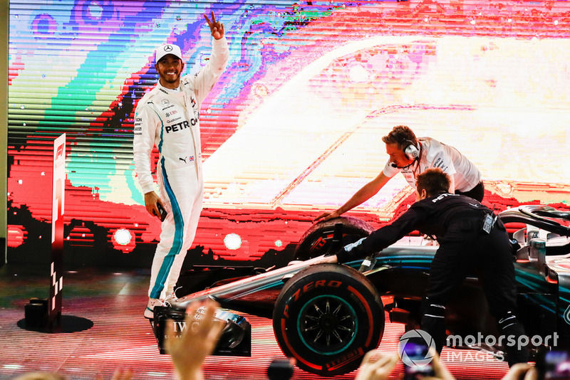Lewis Hamilton, Mercedes AMG F1, 1st position, celebrates victory
