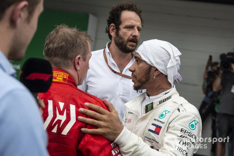 Lewis Hamilton, Mercedes AMG F1 and Kimi Raikkonen, Ferrari in Parc Ferme