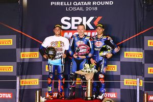 Podium WSS: race winner Lucas Mahias, GRT Yamaha Official WorldSSP Team, second place Sandro Cortese, Kallio Racing, third place Federico Caricasulo, GRT Yamaha Official WorldSSP Team