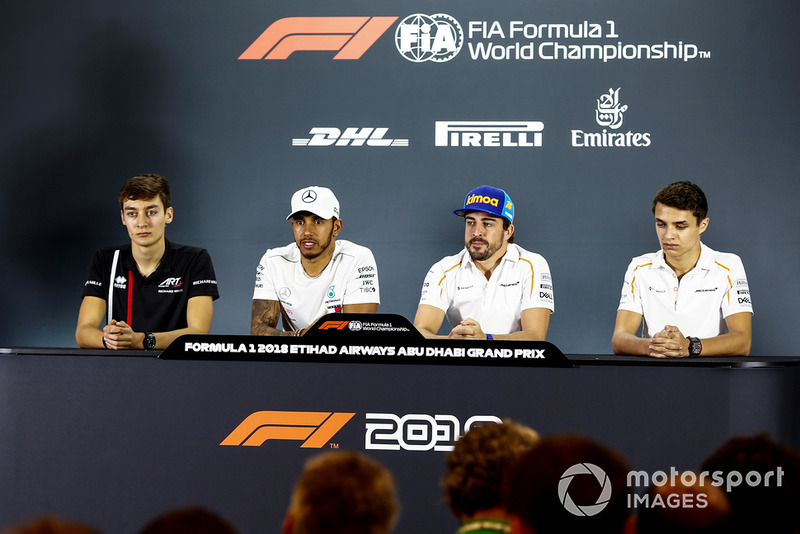 George Russell, Williams Racing, Lewis Hamilton, Mercedes AMG F1, Fernando Alonso, McLaren, and Lando Norris, McLaren, in the press conference