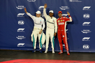 Valtteri Bottas, Mercedes AMG F1, Lewis Hamilton, Mercedes AMG F1 and Sebastian Vettel, Ferrari celebrate in Parc Ferme