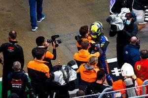 ole man Lando Norris, McLaren, celebrates with his team