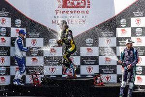 Alex Palou, Chip Ganassi Racing Honda, Colton Herta, Andretti Autosport w/ Curb-Agajanian Honda, Romain Grosjean, Dale Coyne Racing with RWR Honda, podium, champagne